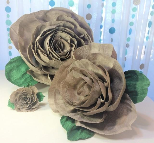 wedding photo - Crepe paper roses, 4 sizes to choose from, Crepe paper flowers, Crepe paper flower, Floral wall decor, Baby shower decor, Home decor - $4.99 USD