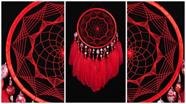 wedding photo - Red Dreamcatcher Decor boho Dream Catcher red Dreamcatcher Dream сatcher dreamcatchers dark red dreamcatchers wall red decor handmade gift