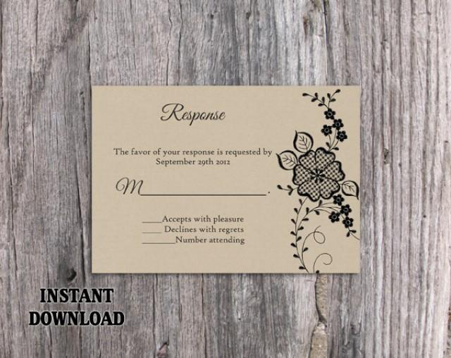 wedding photo - DIY Lace Wedding RSVP Template Editable Word File Instant Download Burlap Rsvp Template Printable Vintage Rsvp Floral RSVP Card Rustic Rsvp - $7.90 USD