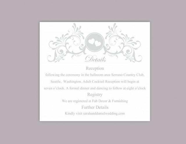 wedding photo - DIY Wedding Details Card Template Download Printable Wedding Details Card Editable Gray Silver Details Card Elegant Heart Information Cards - $6.90 USD