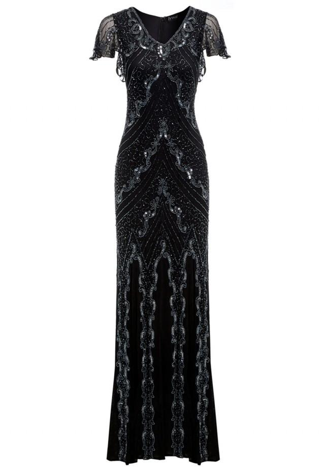 wedding photo - Jywal Dame Beaded Long Gatsby Dress in Black