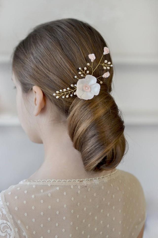 wedding photo - Ivory floral hair pin Champagne floral pearl vine bridal hair vine Delicate ivory wedding hairdress Pearl wedding hair pin bridal satin - $17.00 USD