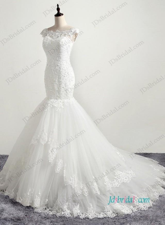 wedding photo - H1195 Romantic illusion lace back tiered mermaid wedding dress