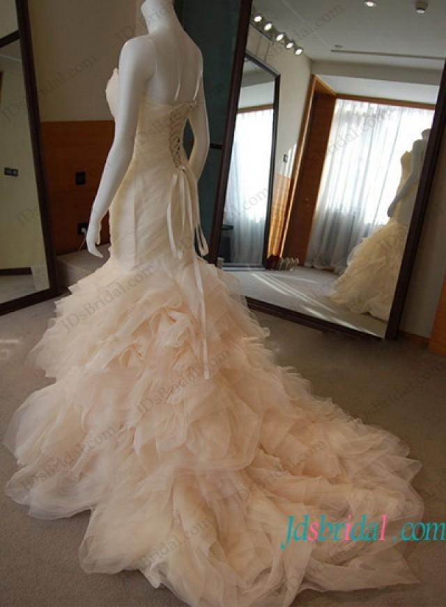 wedding photo - Inspired designer blush ruffled mermaid wedding dress