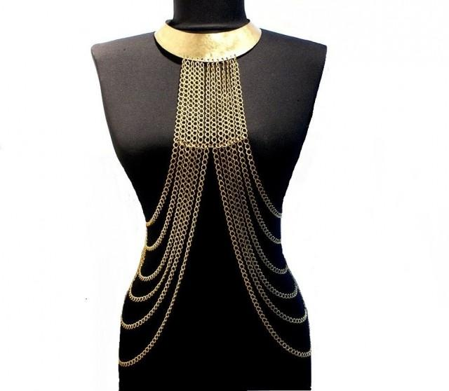 wedding photo - body chain necklace, gold body chain necklace, gold harness, body chain, harness chain necklace - $86.00 USD