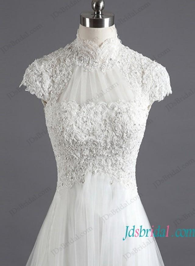 wedding photo - H1193 Illusion lace high neck short sleeved wedding dress