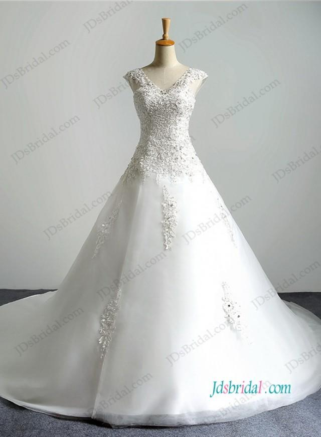 wedding photo - H1194 Illusion lace v neckline organza ball gown wedding dress