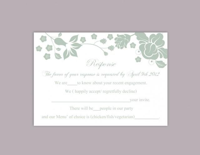 wedding photo - DIY Wedding RSVP Template Editable Word File Instant Download Rsvp Template Printable RSVP Cards Floral Green Rsvp Card Elegant Rsvp Card - $6.90 USD