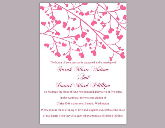 wedding photo - Wedding Invitation Template Download Printable Wedding Invitation Editable Invitation Pink Wedding Invitation Heart Invitation Elegant DIY - $6.90 USD