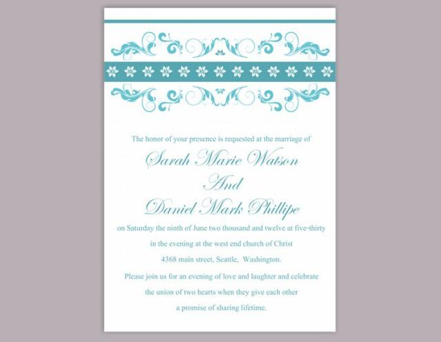 wedding photo - Wedding Invitation Template Download Printable Wedding Invitation Editable Blue Wedding Invitations Elegant Invitation Floral Invitation DIY - $6.90 USD