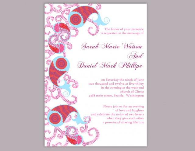 wedding photo - Bollywood Wedding Invitation Template Download Printable Wedding Invitation Editable Red Invitations Indian invitation Paisley Invites DIY - $6.90 USD