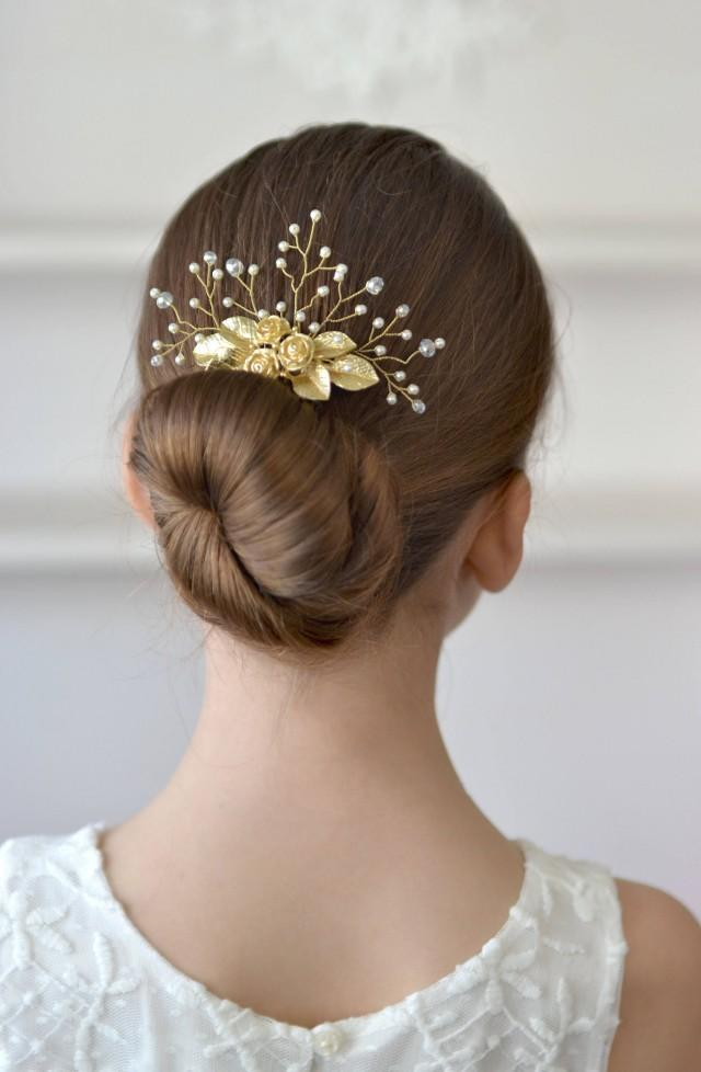 wedding photo - Wedding comb Gold roses hair comb pearl vines hair back Bridal head piece gold lieves hair comb exquisite - $31.00 USD