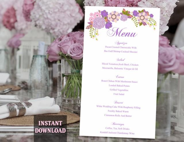 "wedding photo - Wedding Menu Template DIY Menu Card Template Editable Text Word File Instant Download Purple Menu Floral Menu Template Printable Menu 4x7"" - $6.90 USD"
