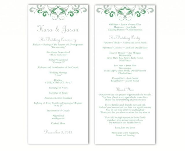 wedding photo - Wedding Program Template DIY Editable Word File Instant Download Program Green Wedding Program Silver Program Printable Program 4x9.25inch - $8.00 USD