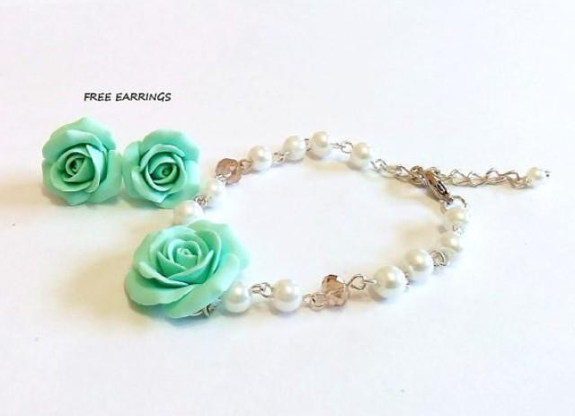 wedding photo - SALE - FREE EARRINGS - Mint green rose and Pearls Bracelet, Rose Bracelet, Mint Bridesmaid Jewelry, Rose Jewelry, summer Jewelry