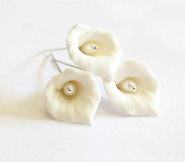 wedding photo - White Calla Lilies Hair pins, Calla Lilies hairpins, Woodland, White Flower,Wedding,Wedding Hair Accessories, Calla Lily Bridesmaid Hair Set