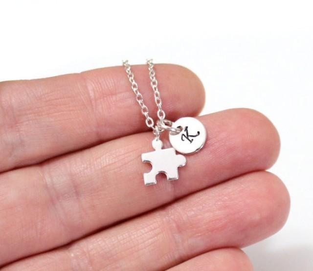 wedding photo - Silver Puzzle Piece Necklace, Gold Jigsaw Puzzle Piece Charm, Initial Necklace, Personalized Stamped Initial, Necklace, Graduation Gift