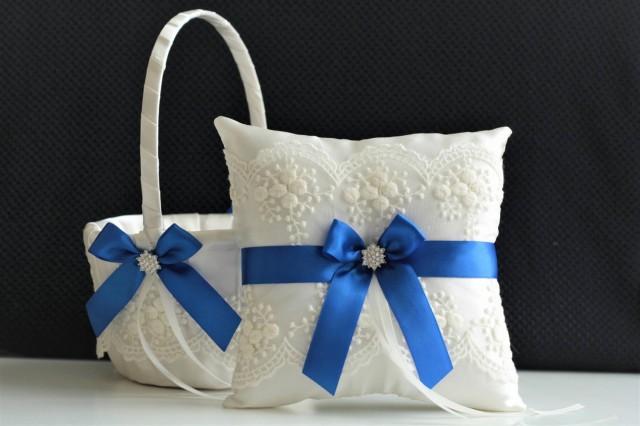 wedding photo - Royal Blue Wedding Basket / Royal Ring Bearer / Blue Flower Girl Basket Pillow Set / Blue Wedding Pillow / Lace Wedding Basket / Lace Pillow - $28.00 USD