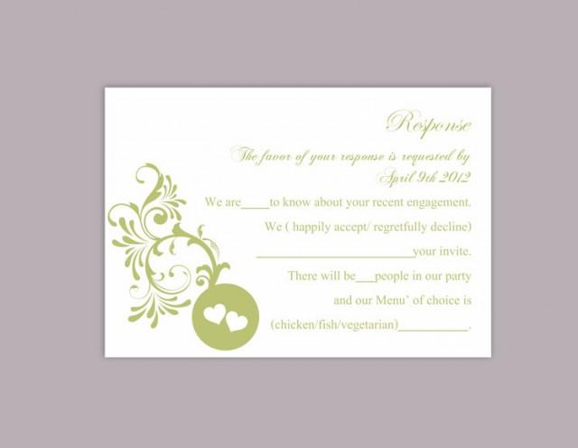 wedding photo - DIY Wedding RSVP Template Editable Word File Instant Download Rsvp Template Printable RSVP Cards Green Rsvp Card Elegant Rsvp Card - $6.90 USD