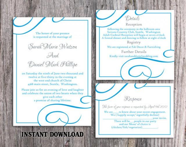 wedding photo - Wedding Invitation Template Download Printable Wedding Invitation Editable Blue Invitations Elegant Invites Turquoise Wedding Invitation DIY - $15.90 USD
