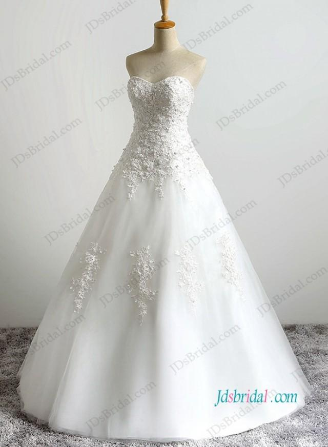 wedding photo - H1191 simple strapless beaded tulle wedding dresses