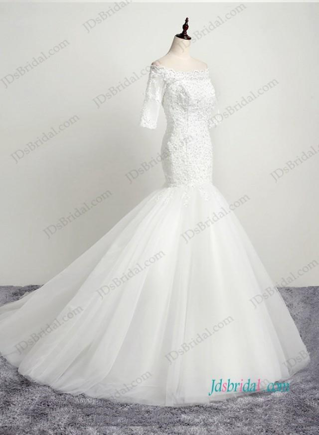 wedding photo - H1192 Petite off shoulder key hole back lace mermaid wedding dress