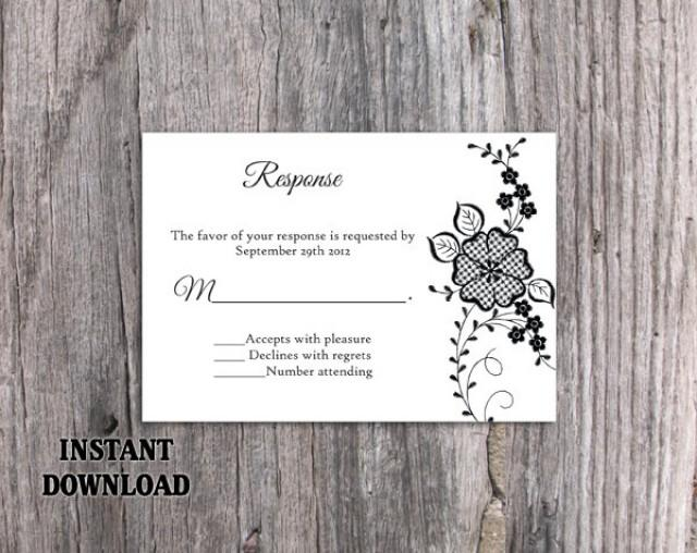 wedding photo - DIY Lace Wedding RSVP Template Editable Word File Instant Download Black Rsvp Template Printable Vintage Rsvp Floral RSVP Card Rustic Rsvp - $7.90 USD
