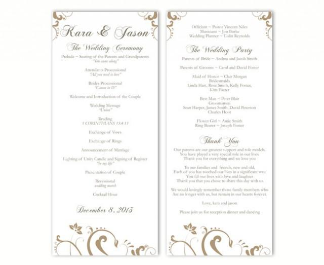 wedding photo - Wedding Program Template DIY Editable Text Word File Download Program Gold Wedding Program Floral Program Printable Program 4x9.25inch - $8.00 USD
