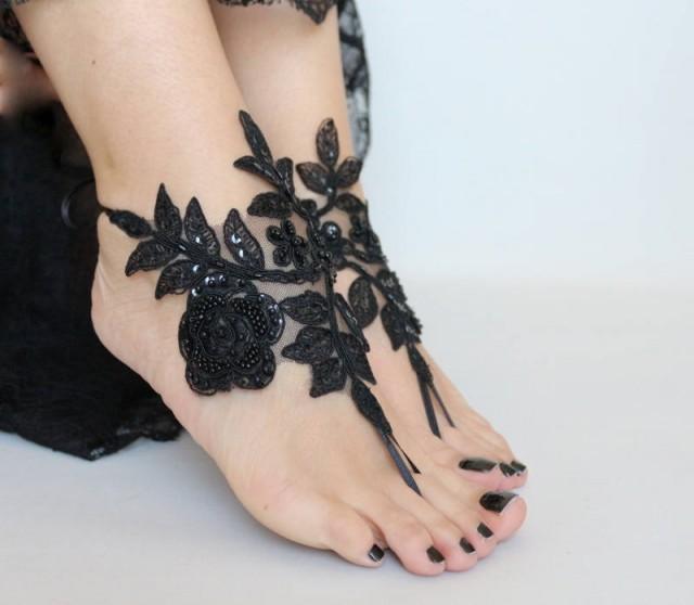 wedding photo - black lace sandals, beach wedding barefoot sandals, beach shoes, belly dance bridesmaid gift, goth lace sandles for wedding, Beach sandles, - $29.90 USD