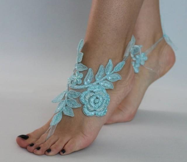 wedding photo - Blue Lace Barefoot Sandals Sandals Beach wedding Barefoot Sandals Lace Barefoot Sandals, Bridal Lace Shoes, Bridesmaid Sandals - $29.90 USD