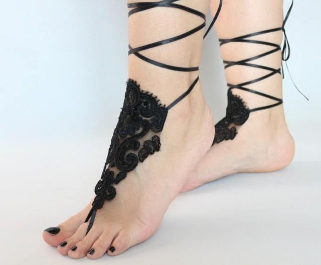 wedding photo - Black Lace Beach wedding Barefoot Sandals Lace Sandals Lace Barefoot Sandals, Bridal Lace Shoes Foot Belly Dance, bridesmaid gifts anklet - $26.90 USD