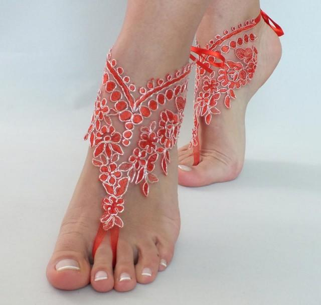 wedding photo - Red Lace barefoot sandals Lace Bridal Sandals, Red Silver frame bangle, Slave gypsy anklets wedding anklet, FREE SHIP, bridesmaid gift - $27.80 USD