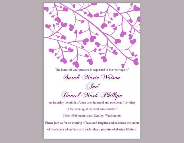 wedding photo - Wedding Invitation Template Download Printable Wedding Invitation Editable Invitation Purple Wedding Invitation Heart Invitation Invites DIY - $6.90 USD