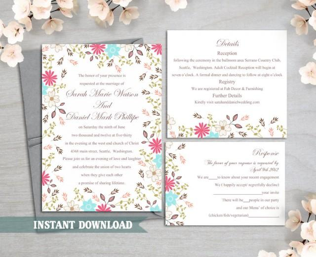 wedding photo - Wedding Invitation Template Download Printable Wedding Invitation Editable Invitation Floral Boho Wedding Invitation Colorful Invitation DIY - $15.90 USD