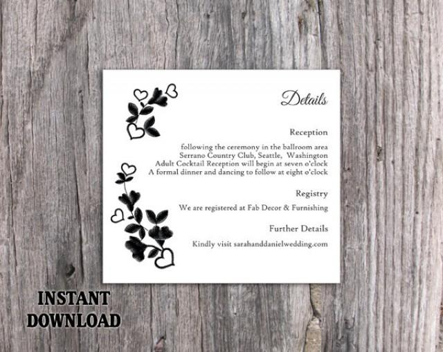 wedding photo - DIY Lace Wedding Details Card Template Download Printable Wedding Details Card Floral Boho Details Card Black Rustic Enclosure Cards Vintage - $7.90 USD