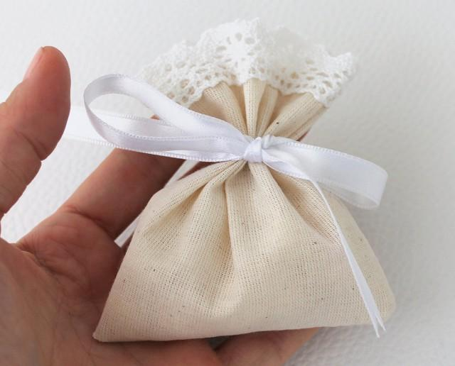 wedding photo - Wedding Favor Bags, Natural Linen, candy bags, set of 100, eco friendly - $150.00 USD