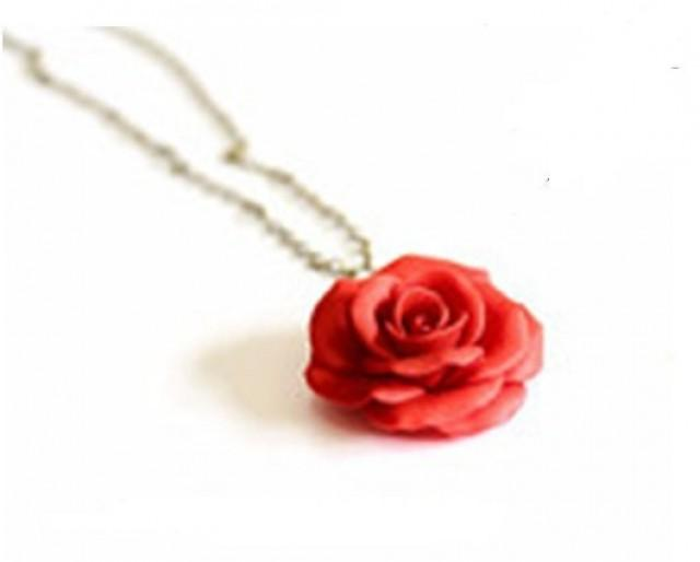 wedding photo - Red Rose Necklace - Rose Pendant, Rose Charm, Valentine, Love Necklace, Bridesmaid Necklace, Flower Girl Jewelry, Red Bridesmaid Jewelry