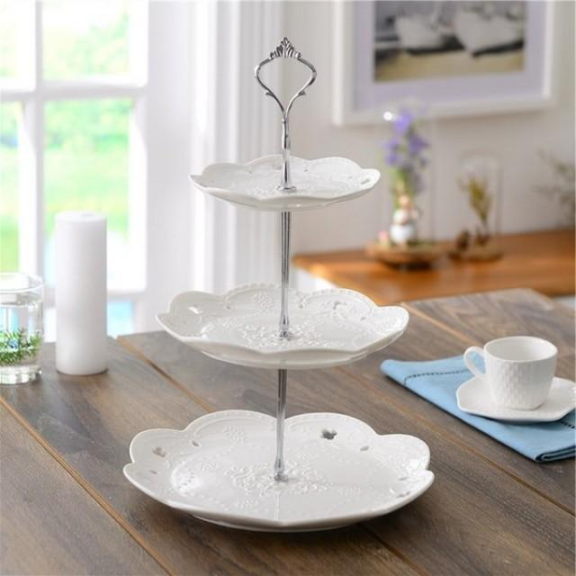 wedding photo - Beter Gifts® Ceramic 3 Tier Cake Stand Tower Dishware BETER-HH124 #WeddingDecor #cakestand #caketower #cakedishware