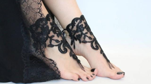 wedding photo - Black Lace Barefoot Sandals Lace barefoot Sandals Woman Boho Sandals Bohemian Sandles Wedding Anklets Barefoot Shoes - $32.90 USD