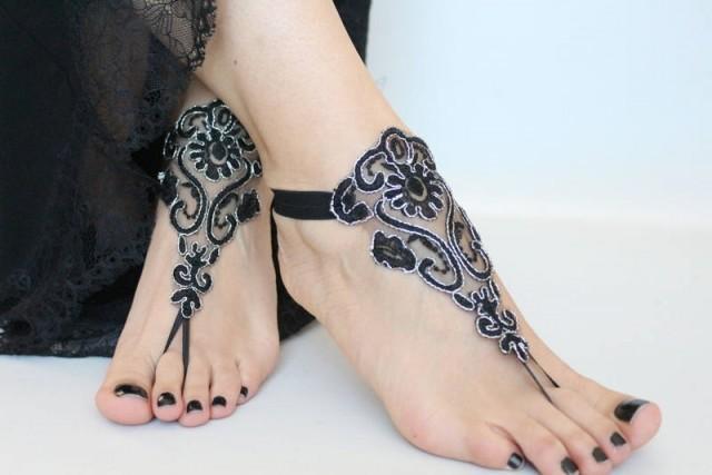 wedding photo - Boho wedding Barefoot Sandals Black Silver Lace Sandals, Bridal Barefoot Sandals, Bridal Lace Shoes, footless beach sandals Bohemian Sandals - $24.90 USD