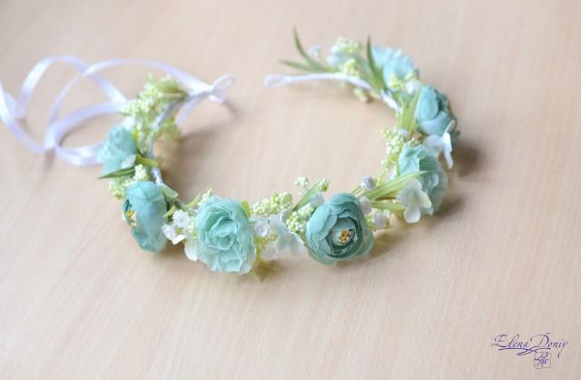 wedding photo - Flower girl headband Mint floral crown bridal Mint head wreath flowers wedding accessories hair floral crown - $41.00 USD