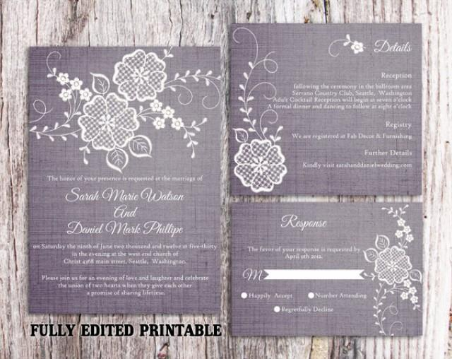 wedding photo - Printable Wedding Invitation Suite Printable Rustic Invitation Lace Invitation Vintage Floral Invitation Download Invitation Edited PDF file - $15.00 USD