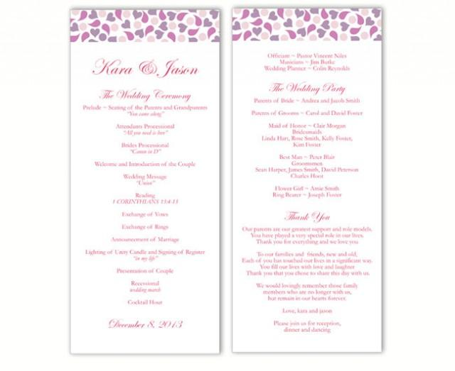 wedding photo - Wedding Program Template DIY Editable Word File Instant Download Program Lavender Wedding Program Purple Heart Program Printable Program - $8.00 USD