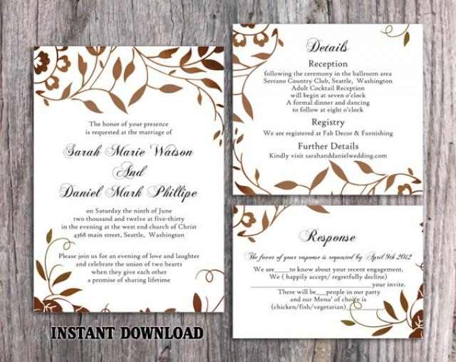 wedding photo - Wedding Invitation Template Download Printable Wedding Invitation Editable Leaf Invitation Rustic Invitations Brown Gold Invitation DIY - $15.90 USD
