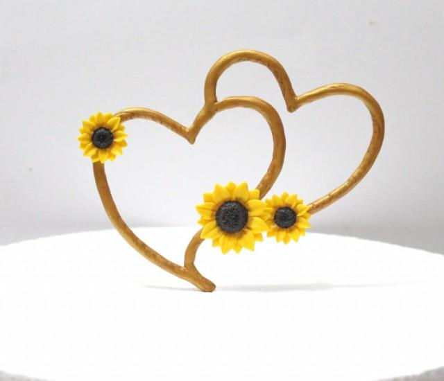 wedding photo - Topper Cake Sunflower, Rustic Heart Cake Topper, Rustic Wedding Cake Topper, Sunflower Wedding, Topper Sunflower Wedding, Wedding Hearts