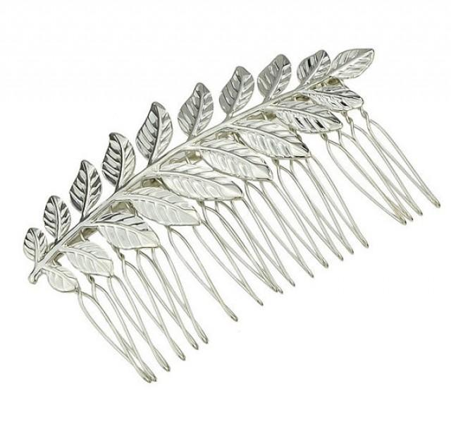 wedding photo - Silver Leaf Hair Comb. Bridal Hair Comb, Leaf Headpiece, Wedding Hair Accessory, Woodland Hair Accessory, Silver Leaf Hair Comb