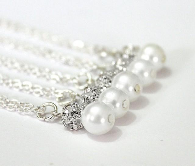 wedding photo - Set of 6 Bridesmaid Necklaces,Sterling Silver Chain,Pearl and Rhinestone Necklaces, Pearl Necklaces,6 Pearl and Crystal Necklaces Gift Ideas
