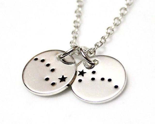 wedding photo - Two Disc Big Dipper Little Dipper Sterling Silver, Hand Stamped Constellation Necklace, Ursa Major, Zodiac Jewelry, Birthday Gift
