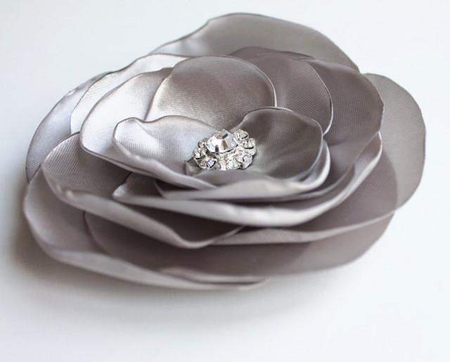 wedding photo - grey flower hair pin, bridal accessory, brides flowers, rhinestone bead