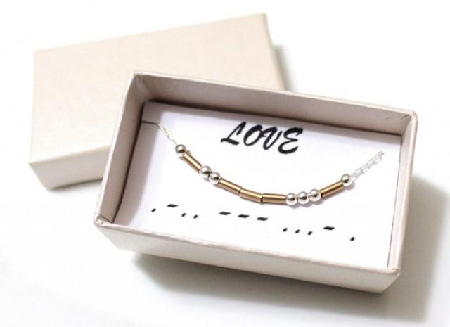 wedding photo - Love Morse Code, Morse Code Necklace, Custom Morse Code, Morse Code Jewelry, Love Jewelry, Love Necklace, Bridesmaid Gift, Christmas Gift